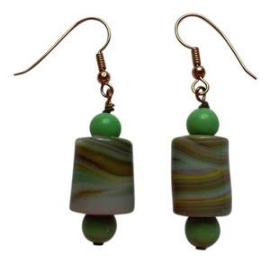 Handmade Green Beaded Pierced Dangle Drop Earrings