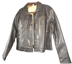 FUBU Leather Jean Style Brown Womens Jean Jacket