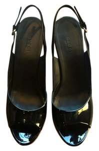 Gucci Patent Black Leather Pumps