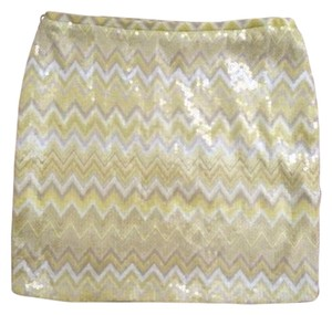 Umgee Mini Skirt Yellow Chevron Pattern