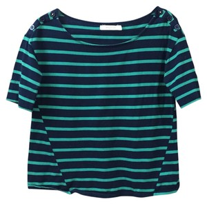 Anthropologie Crop Striped T Shirt Blue and Green