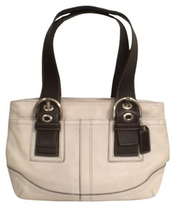 Coach Leather White Tote Satchel in White Brown