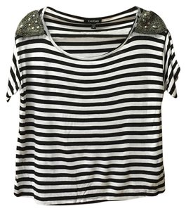 bebe Crop Sequin Top Black and White