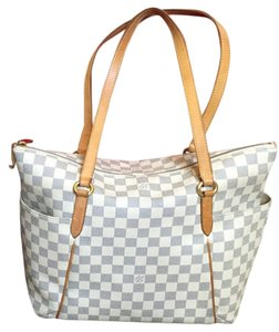 Louis Vuitton Leather Tote in White and blue