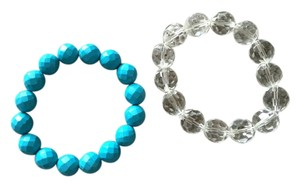 Faceted Beaded Turquoise Crystal Glass Clear Beads Stretch Bracelets