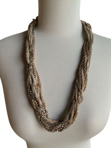 Elie Tahari Elie Tahari Statement Necklace Silver Chain Sand Dune Chiffon Twisted