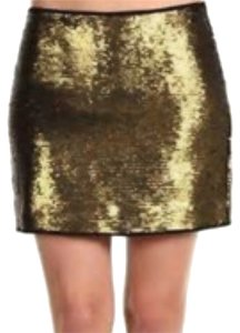 BCBGMAXAZRIA Mini Skirt Gold and black