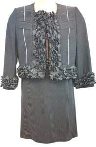 Gianfranco Ferre GIANFRANCO FERRE FRINGES COTTON BLEND SKIRT SUIT 44