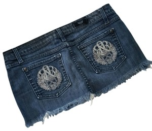 Rock & Republic & Jean Mini Raw Edge Hem Mini Skirt Denim