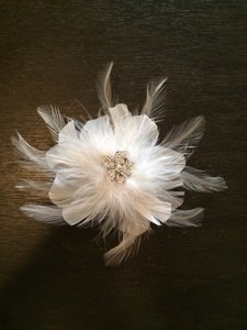 David's Bridal Feather & Jeweled Hair Piece