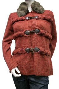 Z Red Cardigan Toggle Sweater