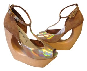 Jeffrey Campbell Gold/Nude Platforms