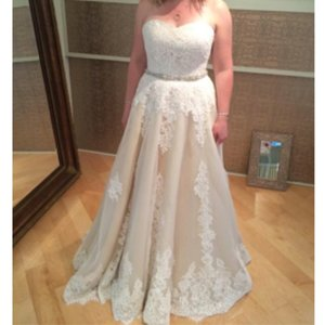 Robert Bullock Bride Strapless Lace On Lace Dress Wedding Dress