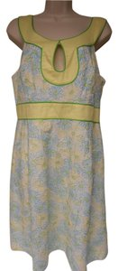 Lilly Pulitzer short dress white/yellow/blue/green Lined Embroidered Keyhole Side Zipper on Tradesy
