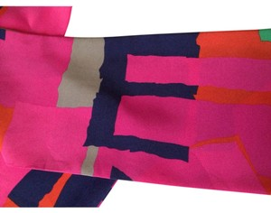 SILK Patterned Scarf, fuchsia multi color