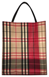 Burberry London Tote in Red Plaid