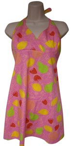Lilly Pulitzer short dress bright pink Lined Zipper Back Halter Top on Tradesy
