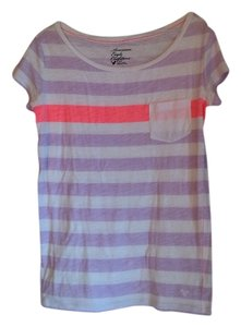 American Eagle Outfitters T Shirt Lavender/Neon Orange/White