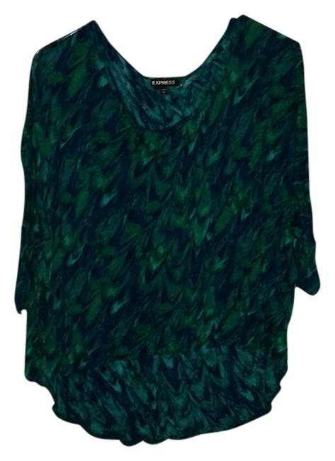 Preload https://item2.tradesy.com/images/express-green-and-blue-peacock-like-design-hi-lo-comfortable-print-t-shirt-1256026-0-0.jpg?width=400&height=650