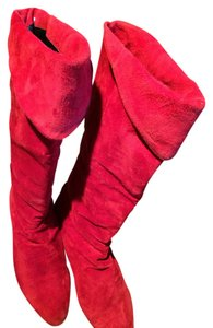 Classique Suede Knee High 8 Flats Bright Red Boots
