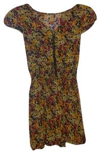 No Boundaries short dress Floral Print Yellow Pink Purple on Tradesy