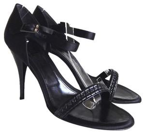 Chanel Satin Leather Rhinestone Open Toe Black Sandals