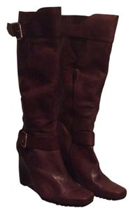 Nine West Leather Wedge Brown Boots