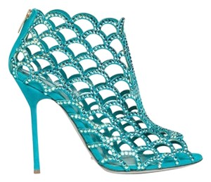 Sergio Rossi Suede Crystal Blue Boots
