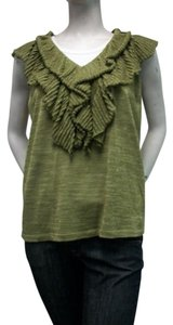 Stizzoli Italian Knit V-neck Top Green