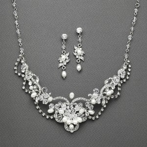 Mariell Freshwater Pearl Crystal Necklace and Earrings Jewelry Set