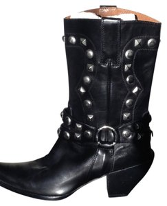 Donald J. Pliner Leather Medium Heel Cowboy Black with Silver Studs Boots