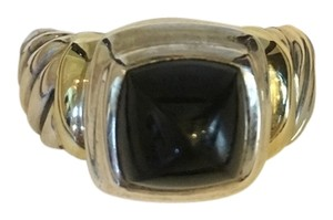 David Yurman David Yurman Sterling Silver 14K Yellow Gold Onyx Ring- Size 6