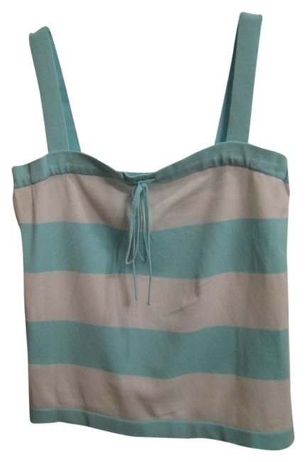 Banana Republic Striped Bold Stripe Top Turquoise and White