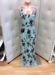Green with Brown Velvet Flowers Maxi Dress by Calvin Klein Sheer