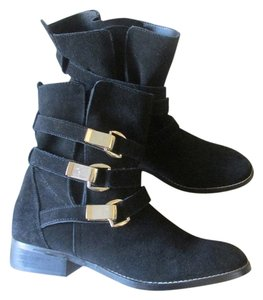 Steve Madden Patent Leather Comfortable Soft Black - Gold Boots