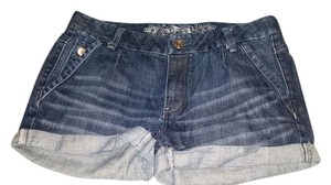 Express Casual Denim Comfortable Machine Washable Sparkle Cuffed Shorts Blue Denim