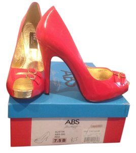 A.B.S. by Allen Schwartz Little Cut Crystals Buckles Red patent Platforms