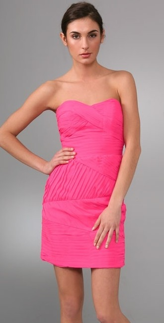 Shoshanna Strapless Sweetheart Pleated Dress