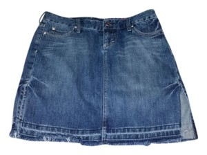 Express Casual Comfortable Denim Fringe Hem Skirt Blue Denim