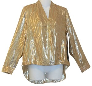 Chico's Jacquard Lurex Evening Top Gold