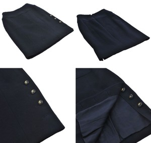 Chanel Navy Suit Cc Logo Cc Suit Skirt Dark Navy