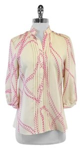 Parker Cream Pink Bubble Print Silk Top
