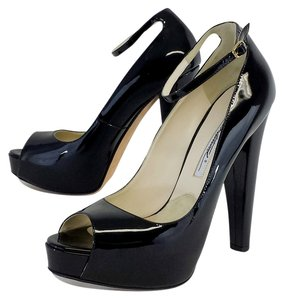 Brian Atwood Black Patent Leather Peep Toe Platforms