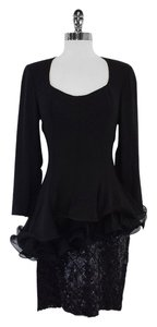 Fabrice short dress Black Ruffle Sequin Silk on Tradesy