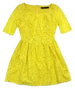 Patterson J. Kincaid short dress Yellow Lace Cotton Blend on Tradesy