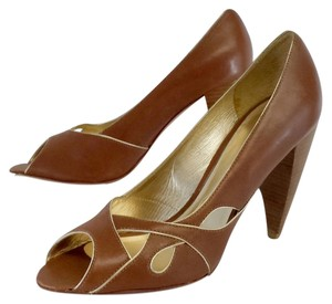 Pour La Victoire Brown Leather Peep Toe Heels Pumps