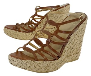 Stuart Weitzman Brown Leather Espadrille Wedges