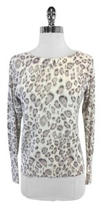 Rebecca Taylor Cream Grey Leopard Print Sweater