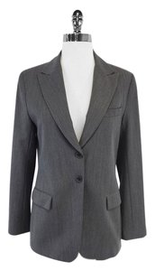 Theory Grey Wool Herringbone Suit Jacket