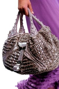 Fendi Limited Edition Sequin Suede Satchel in Silver